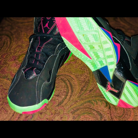 black green and pink jordans